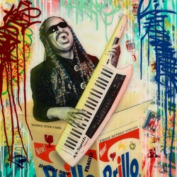 Stevie Wonder by Srinjoy - Mixed Media sized 24x24 inches. Available from Whitewall Galleries